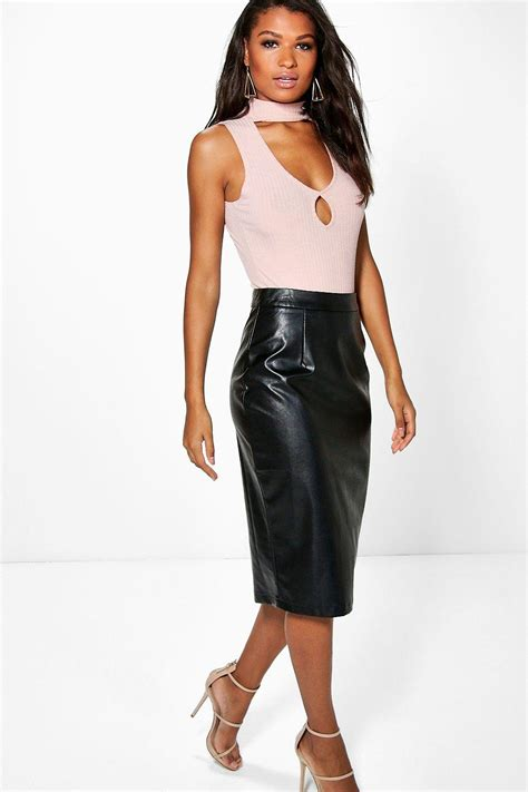 boohoo womens bahati leather look pencil midi skirt