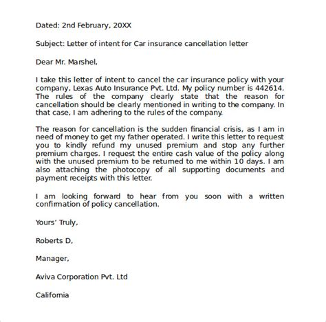 Draft Letter To Cancel Insurance Car Insurance Cancellation Letter Sle
