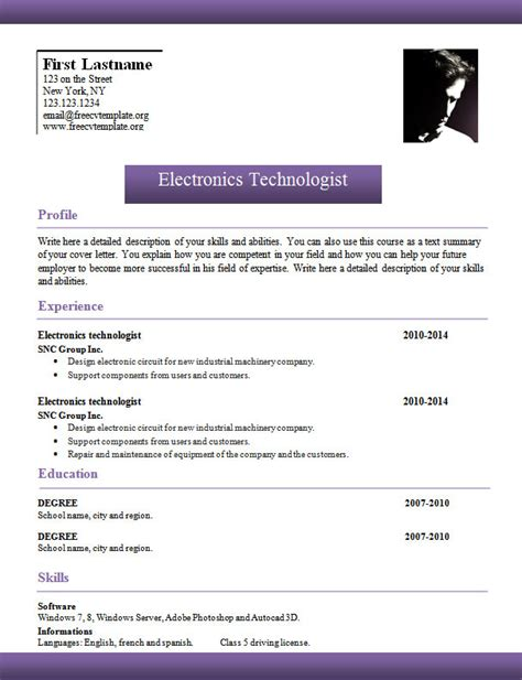 word templates cv template 961 to 967 free cv template dot org