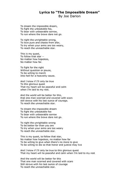 impossible testo the impossible lyrics search creative
