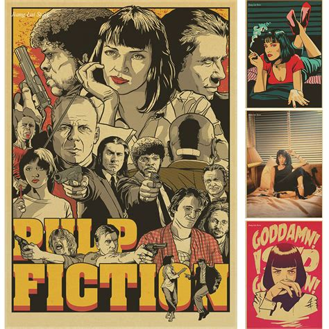 quentin tarantino film canvas pulp fiction posters vintage paper retro anime poster