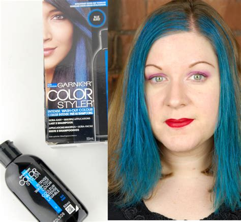 photos of washout hair dye garnier color styler intense wash out hair color in blue