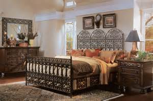 Classic bedroom design which actually uses dark metal for the bed