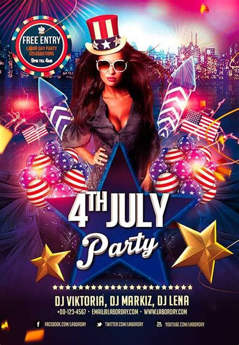 Fourth Of July Party Flyer Template