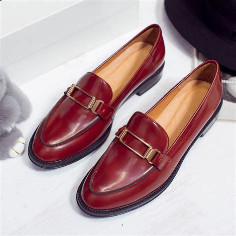 top quality flats shoes genuine leather slip on