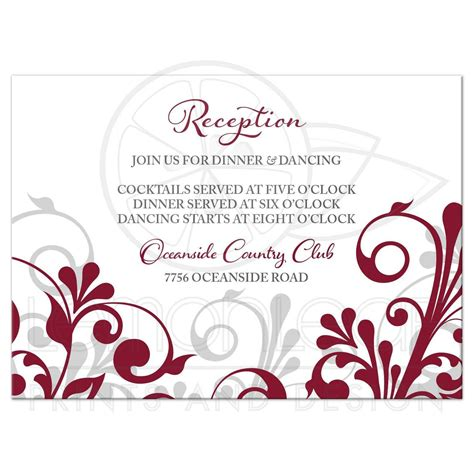 detailed wedding reception card template burgundy gray abstract floral wedding reception card