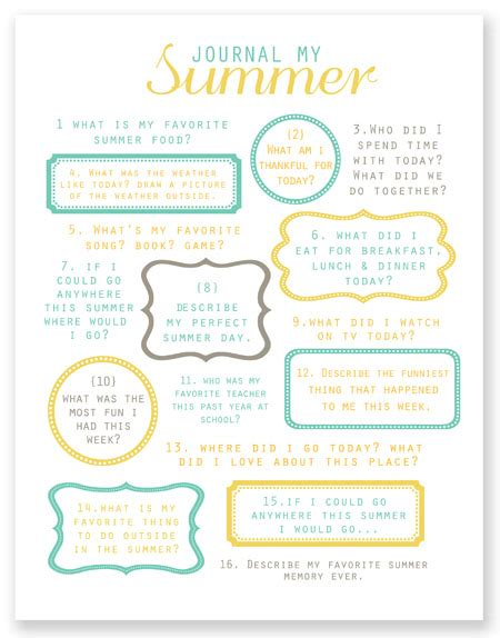 printable summer journal pages 5 best images of printable summer journal prompts summer