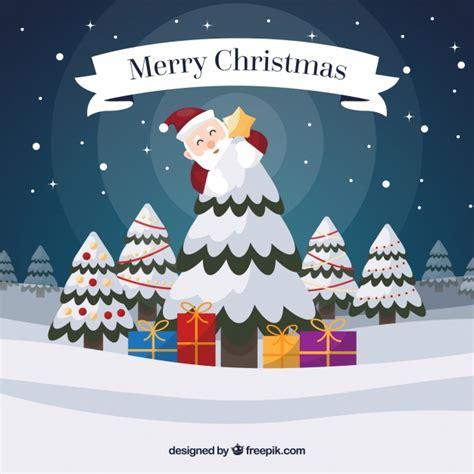 arboles de naviadad con santa clous fondo de feliz navidad con santa claus y 225 rbol nevado descargar vectores gratis
