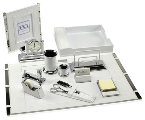 White Leather Desk Accessories Premier Desk Set Collection Mini Crocodile White Transitional Desk Accessories By Paolo