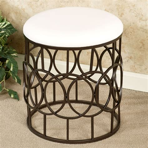 metal vanity bench reign round upholstered metal vanity stool