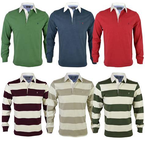Moc Plain Sleeved Shirt Biru new farah s rugby jersey plain stiped polo shirt