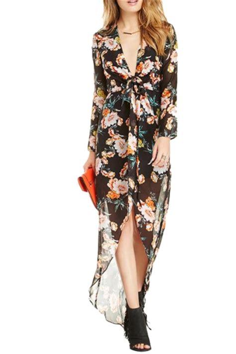 Tie Waist Floral Chiffon Dress plunge neck chiffon asymmetric hem floral print tie