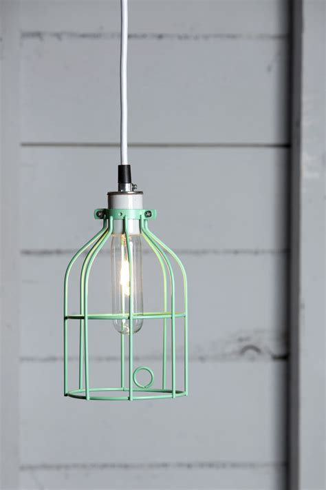 Industrial Lighting Mint Green Wire Cage Light Pendant Pendant Light Cage