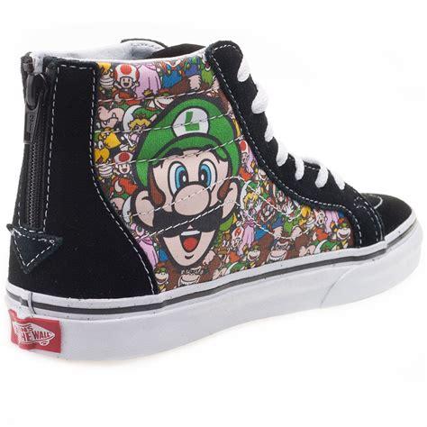 Vans Sk8 Hi Nintendo Reissu Mario Back Zip vans sk8 hi zip nintendo mario trainers in black
