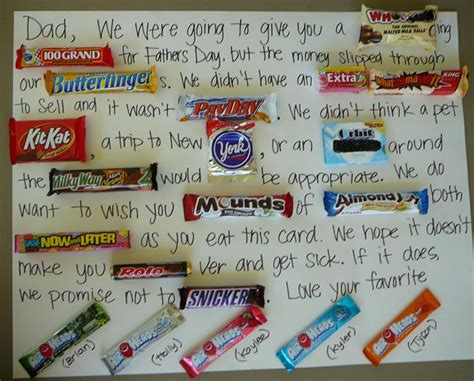 a card written in chocolate bars father s day
