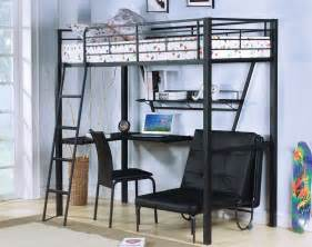 black metal loft bed with desks and futon