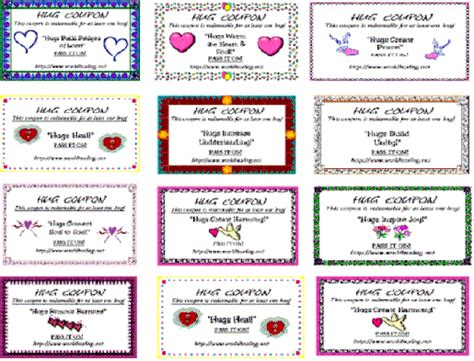 printable free hug coupons pin free hug coupon on pinterest