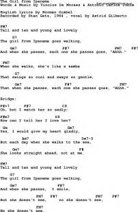 Lyrics with guitar chords for girl from ipanema the stan getz 1964