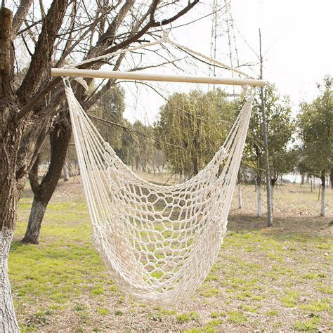 Patio Hammock Chair Outdoor Hanging Swing Cotton Hammock Chair Solid Rope Yard Patio Porch Garden Ebay