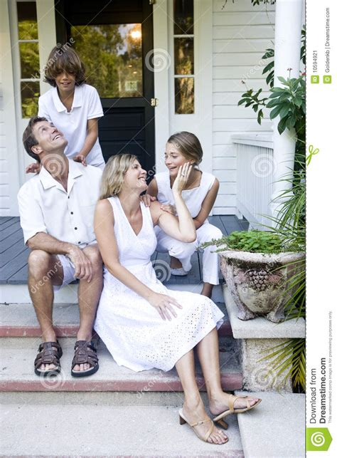 is swinging healthy for a relationship family on porch steps stock image image 10594921