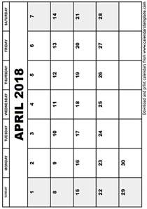 April 2018 Calendar Printable April 2018 Calendar Template