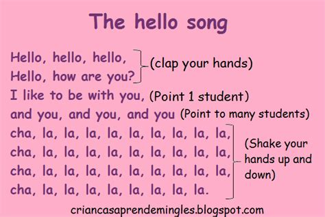 greeting song ingl 234 s para crian 231 as the hello song