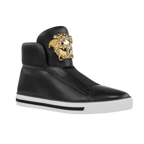 mens versace sneakers these black palazzo high top sneakers are designed to walk