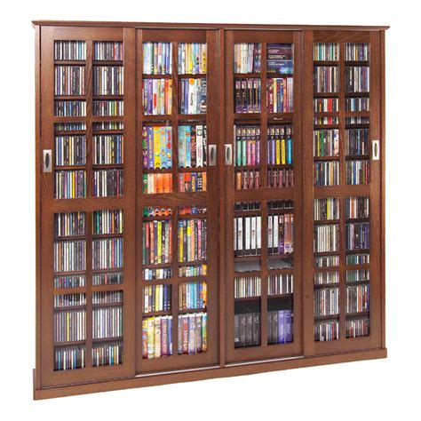 Media Storage Cabinet With Glass Doors Leslie Dame Glass 4 Door Multimedia Storage Cabinet Walnut Ms 1400w