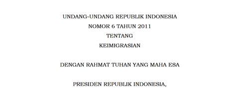 Hukum Keimigrasian Bagi Orang Asing Di Indonesia undang undang no 6 th 2012 ttg keimigrasian smart
