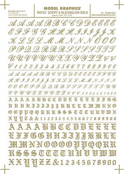 Transfer Letter Railway Script Numbers And Letters Gold Transfer
