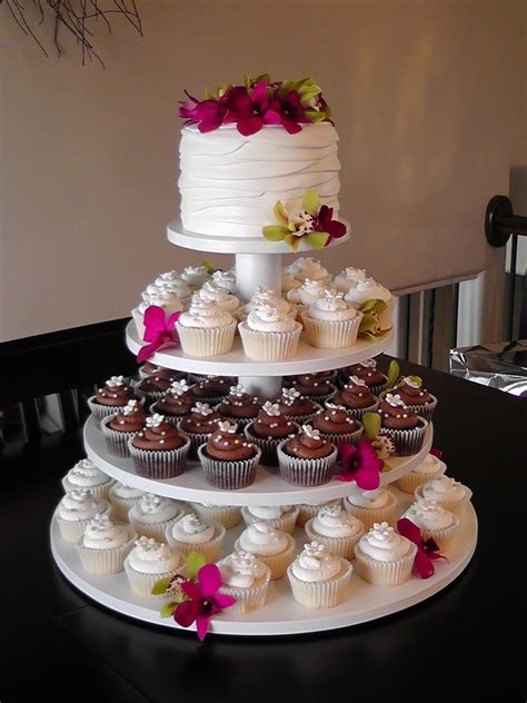 Wedding Cake With Cupcakes by Orchid Wedding Cupcake Tower Cakecentral