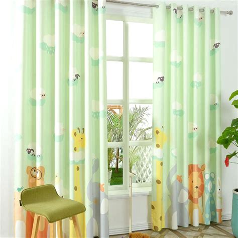 Cool Drapes Light Green Animal Kids Half Blackout Patterns Cool Curtains