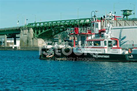 Ballard Designs Promo fireboats on salmon bay near ballard bridge in seattle wa