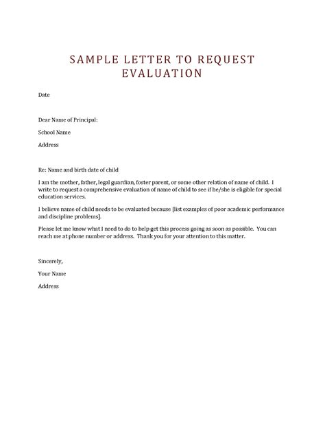 Sle Letter For Product Evaluation sle letter for iep evaluation 28 images release letter