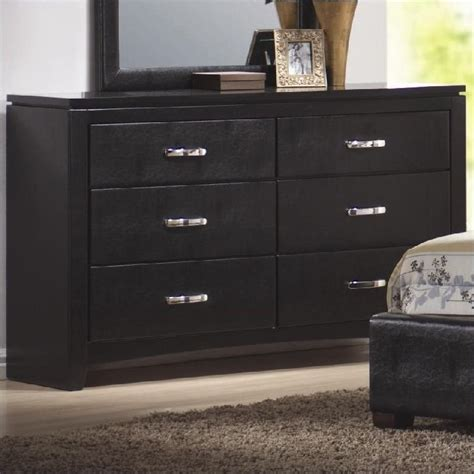 Leather Dresser by Coaster Faux Leather 6 Drawer Dresser In Black 201403