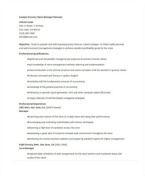 Resume Exles Grocery Store Manager resume grocery store pertamini co