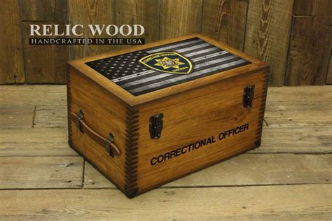 Gifts For Officers by Custom Correctional Officer Badge Keepsake Box