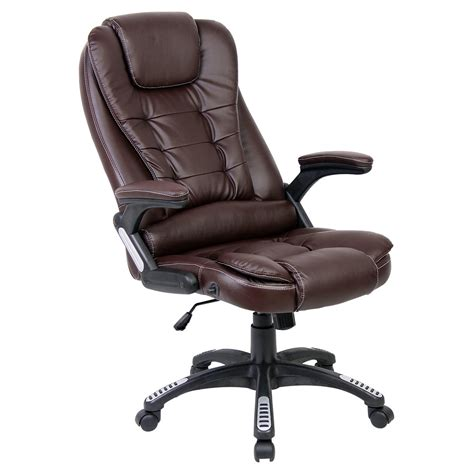 Reclining Office Desk Chair Brown Luxury Reclining Executive Office Desk Chair Faux Leather High Back Ebay