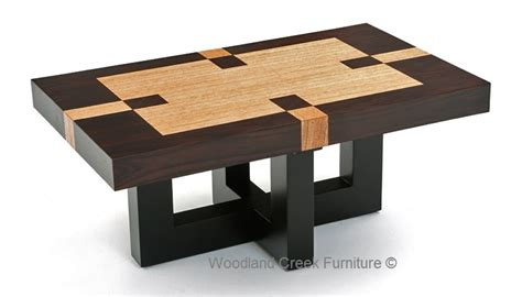 Soft Modern Coffee Table, Inlay, Refined Rustic, Elegant