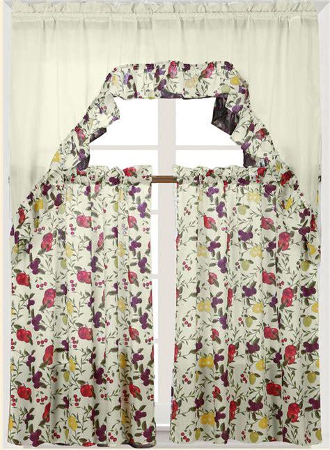 Kitchen Tier Curtains Sets Fruits Printed Kitchen Curtain Set Complete Tier Swag Set Ebay
