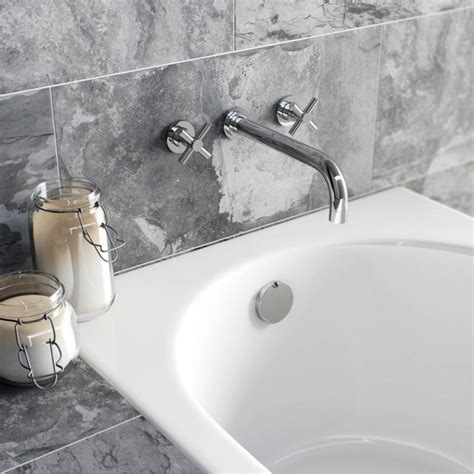 wall mounted bath filler and shower enki cross handle bath filler mixer taps shower bathroom chrome oxford ebay