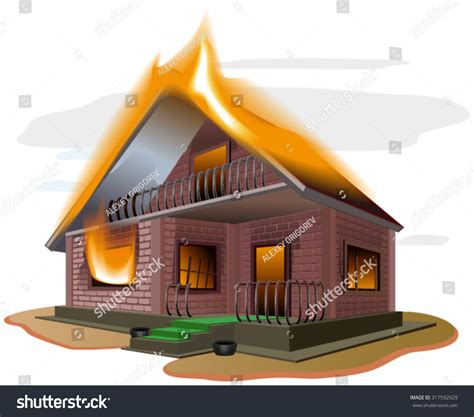 house fire insurance brick house burns cottage fire vacation home property insurance illustration in