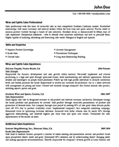 Wine Sales Sle Resume by Sle Sales Resume Resume Express