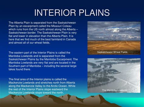 Where Is The Interior Plains Located In Canada by Ppt Landform Regions In Canada Powerpoint Presentation