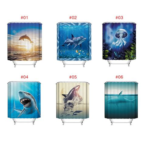 Fish Themed Bathroom Accessories Fish Theme Bathroom Shower Curtain Home Decor Waterproof Polyester 12hooks Ebay