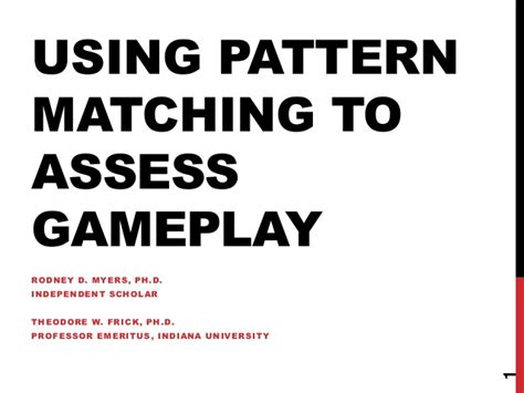 pattern matching video lecture using pattern matching to assess gameplay