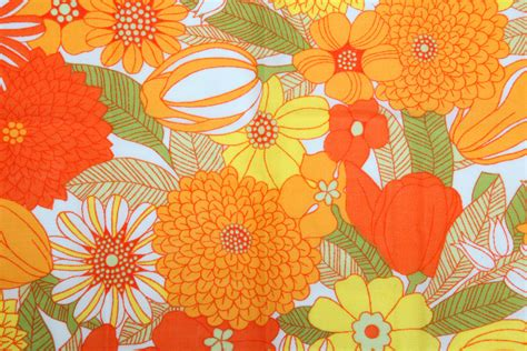 70s Floral by Vintage 70s Yellow Orange And Green Floral Fabric