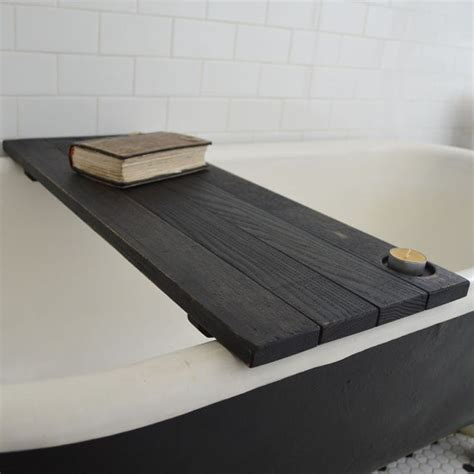 wood bathtub caddy custom ebonized reclaimed wood tub caddy by peg and awl
