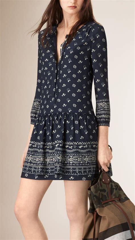 burberry bandana print tunic dress in blue lyst