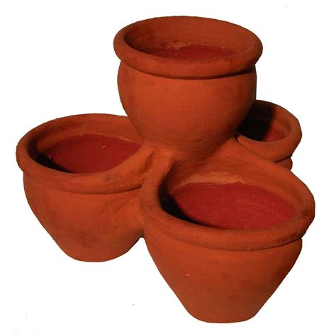 home depot clay pots margo garden products 18 in 4 pocket terra cotta clay pot